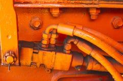 Hydraulic fitting on truck Stock Photo