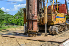 Hydraulic Foundation piles drilling machine on site Stock Photo