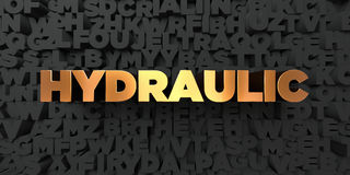 Hydraulic - Gold text on black background - 3D rendered royalty free stock picture Royalty Free Stock Photos