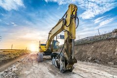 Hydraulic hammer working on road expansion works. In Spain royalty free stock photo