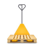 Hydraulic hand pallet truck wit  on white. Hydraulic hand pallet truck with pallet  on white background. 3D rendering Royalty Free Stock Photos