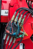 Hydraulic Hose Connections Box. Set of hydraulic hose connections found on farm machines stock photos