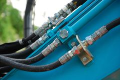 Free Hydraulic Hose Connections On Industrial Equipment Stock Photography - 106407292