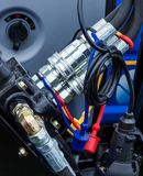 Hydraulic Hose Connections. Set of hydraulic hose connections found on farm machines stock photo