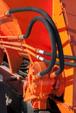 Hydraulic hoses. On the new road machines stock images