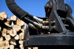 Hydraulic Hoses on Log Loader Royalty Free Stock Image