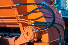 Hydraulic hoses of tractor Stock Image