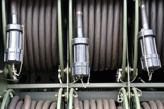 Hydraulic hoses war car. Hydraulic hoses close up machines royalty free stock photo