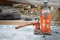 Hydraulic jack. Consrtuction renovate building use hydraulic jack up move house stock images