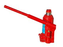 Hydraulic jack. Small red hydraulic jack, isolated on white stock photos
