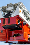 Hydraulic ladder of fire engine rear view Royalty Free Stock Photography