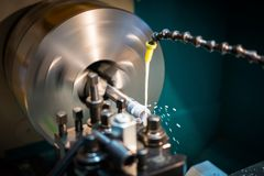 Hydraulic lathe machinery stock photo