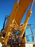 Hydraulic Lift. Lifting system of a piece of heavy construction equipment used in excavation Stock Image
