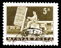Hydraulic lift truck and mail car, Transport and Telecommunication serie, circa 1964. MOSCOW, RUSSIA - FEBRUARY 10, 2019: A stamp printed in Hungary shows stock image