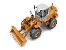 Hydraulic loader. High angle view. Isolated. On white Royalty Free Stock Images