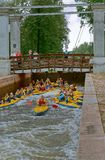Hydraulic lock Nemnovo city, Belarus, August, 2017, kayaking through the gateway, a lot of kayakers participate in the alloys. A lot of kayakers participate in stock photography