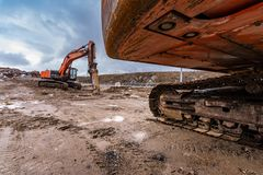 Hydraulic machinery varied in the construction of a road royalty free stock images