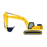 Hydraulic mining excavator vector icon. Heavy construction equip. Ment symbol with boom, dipper and bucket. Construction machinery for digging sand, gravel or Stock Photo