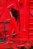 Hydraulic part. Of red machine royalty free stock photos