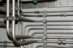 Hydraulic pipes. Pipeline site with plenty of hydraulic pipe royalty free stock photography