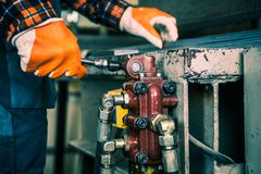 Hydraulic Press Equipment Stock Image