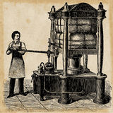 Hydraulic press skatch from 1895. Royalty Free Stock Image