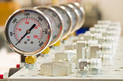 Hydraulic Pressure Gauge Royalty Free Stock Photo