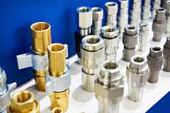 Hydraulic quick coupler. S in store stock photography