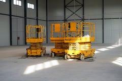 hydraulic scissors lift platforms Stock Image