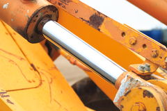 Hydraulic Shaft. The nickel-plated shaft of a hydraulic cylinder Stock Photos