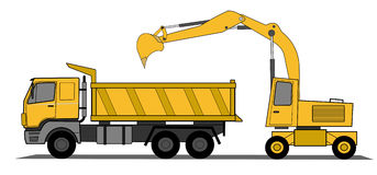 Hydraulic shovel and truck Stock Photography