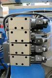 Hydraulic solenoid valves. Electric solenoid valves to control hydraulics in industrial process royalty free stock photo