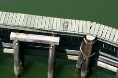 Hydraulic Structure and Wooden Walkway in River Stock Photography
