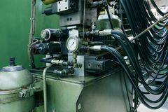 Hydraulic system. Control hight pressure oil stock photo