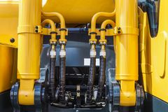 Hydraulic system of the tractor, tube and connections Royalty Free Stock Photography