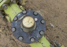 Hydraulic water pump gauge Stock Photo