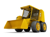 Hydraulic wheeled loader. Perspective. 3D illustration. Hydraulic wheeled loader. Perspective. Wide angle. 3D rendering isolated on white background Stock Image