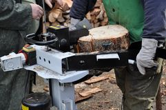 Hydraulic wood cutter stock photography