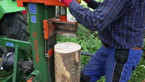 Hydraulic wood splitter stock video