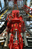 Hydraulics. Top grive installed on derrick oil platform Stock Photography