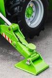 Hydraulics crane support. hydraulics crane support is on gravel Stock Photo