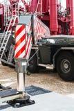 Hydraulics crane support. hydraulics crane support is on gravel Stock Photos
