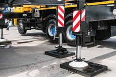 Hydraulics crane support. hydraulics crane support is on gravel Royalty Free Stock Images