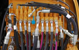 Hydrauliczni węże elastyczni Zdjęcia Royalty Free