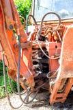 Hydrauliczny tłokowy system dla buldożerów, ciągniki, ekskawatory, chrom matrycował butla dyszel żółta maszyna, budowa ciężki i fotografia royalty free