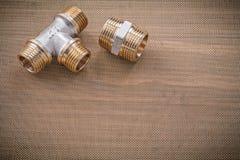 Hydraulików elementów wyposażenia fajczani dopasowania na wodnym siatka filtrze horyzontalny v Zdjęcia Stock