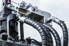 Hydraulik- och bränslesystemtraktor arkivbild