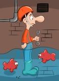 Hydraulik rozwiązuje problem z ryba Obraz Royalty Free