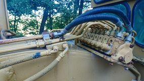 Hydrauliksystem auf Straßenarbeitenmaschinerie stockbild