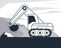 Hydraulisch graafwerktuigvoertuig vector illustratie